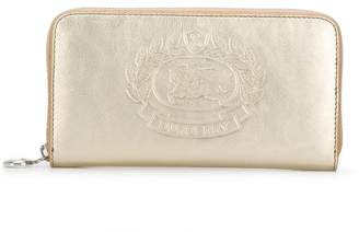 Burberry zip-around embossed logo purse