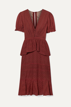 Johanna Ortiz Dandyism Spice Broderie Anglaise Cotton Peplum Dress