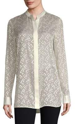 Lafayette 148 New York Brayden Semi-Sheer Blouse