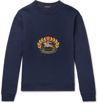 Burberry Embroidered Fleece-Back Cotton-Blend Jersey Sweatshirt
