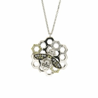 Cosanuova Sterling Silver Honeycomb Bee Cz Necklace