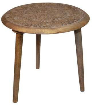 Privilege Round Antique Gray Wood Accent Table