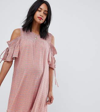 Glamorous Bloom cold shoulder smock dress in check
