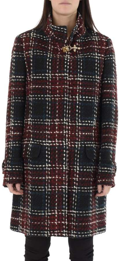 Red Navy Check Coat