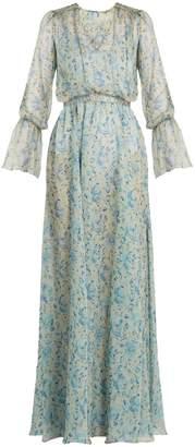 Luisa Beccaria Floral-print V-neck silk-chiffon gown
