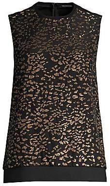 Elie Tahari Women's Azelia Sequin Leopard Sleeveless Silk Blouse