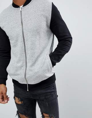 Asos DESIGN jersey bomber jacket in gray nep with contrast sleeves