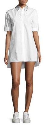 Alice + Olivia Camron Embellished-Collar Tunic Shirtdress, White $295 thestylecure.com
