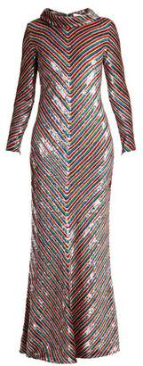 Ashish Rainbow-striped sequin-embellished silk maxi dress