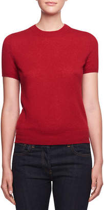 The Row Tati Crewneck Short-Sleeve Cashmere Top