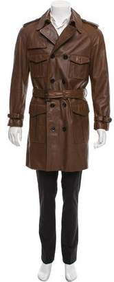 Burberry Double-Breasted Belted Leather Trench Coat