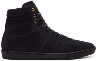 Saint Laurent Navy Suede Court Classic SL/10H High-Top Sneakers