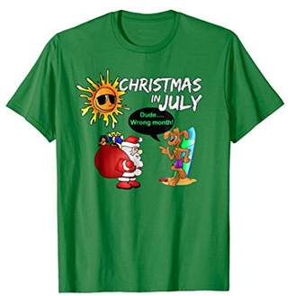 Christmas in July Party Activities T Shirt - Surfing Dog Fun