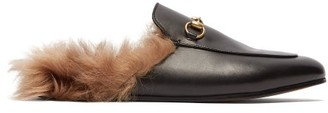 Gucci - Princetown Shearling Lined Leather Loafers - Womens - Black