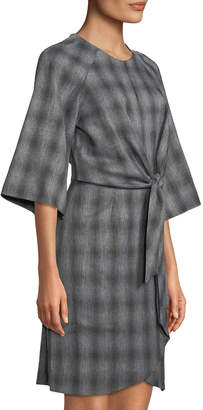 Tahari ASL Plaid Crepe Tie-Waist Dress