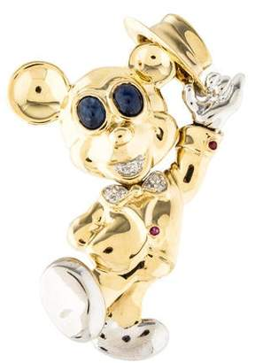 Sapphire, Ruby & Diamond Mickey Mouse Brooch Pendant