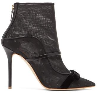 Malone Souliers Claudia Mesh And Leather Ankle Boots - Womens - Black