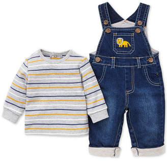 Little Me Baby Boys 2-Pc. Denim Overalls & T-Shirt Set