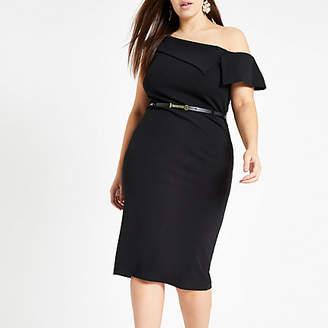 River Island Womens Plus black bardot belted bodycon midi dress