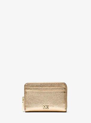 Michael Kors Mercer Small Metallic Pebbled Leather Wallet