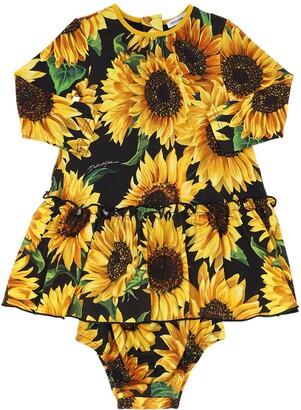 Dolce & Gabbana Sunflower Print Modal Dress W/ Diaper