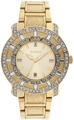 Elgin Mens Crystal-Accent Gold-Tone Watch