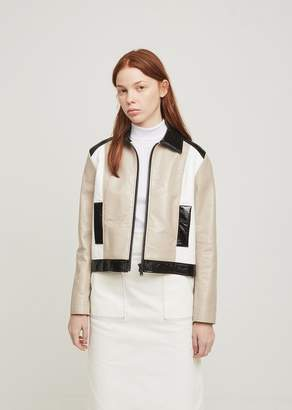 Courreges Short Zipped Tricolor Jacket Mastik+Black+White