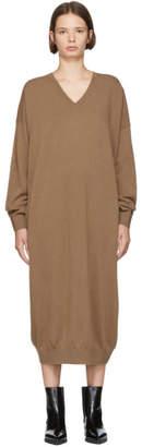 Stella McCartney Brown Alpaca and Wool V-Neck Dress