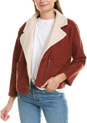 Moon River Fuzzy Collar Wool-Blend Jacket