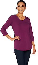 Nobrand NO BRAND Joan Rivers Jersey Knit 3/4 Sleeve Top withShirt Tail Hem