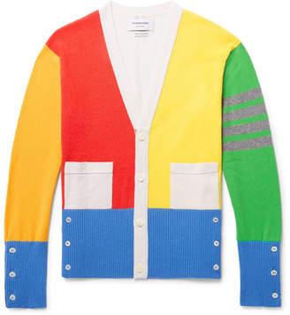 Thom Browne Fun Mix Slim-Fit Colour-Block Striped Cashmere Cardigan - Men - Multi