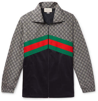 8597bce2675 Gucci Webbing-Trimmed Logo-Print Nylon And Tech-Jersey Track Jacket