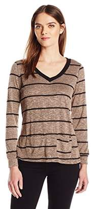 Laundry by Shelli Segal French Laundry Women's Plus Size Cozy V-Neck Stripe Top Pockets