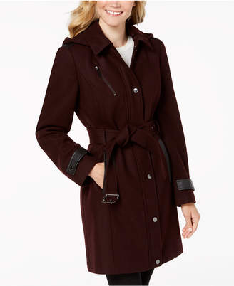 Michael Kors Faux-Leather-Trim Belted Coat