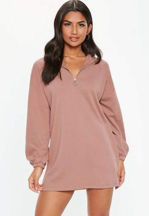 Petite Pink Oversized Zip Front Sweater Dress, Rose