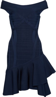Herve Leger Off-the-shoulder Ruffled Bandage Mini Dress