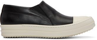 Rick Owens Black Boat Slip-On Sneakers $975 thestylecure.com