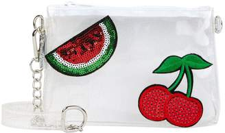 clear Bari Lynn Sequin Patch Clutch Bag