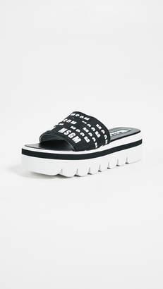 MSGM Multi Strap Logo High Wedge Sandals