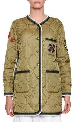Ermanno Scervino Snap-Front Quilted Puffer Jacket with Military Patches