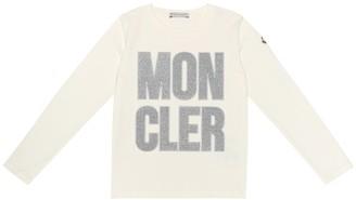 Moncler Enfant Embroidered logo stretch cotton top