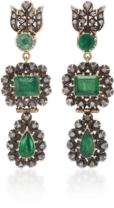 At Moda Operandi Sylva Cie 18k Gold Emerald And Diamond Drop Earrings