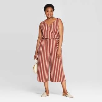 Ava & Viv Women's Plus Size Striped Sleeveless V-Neck Tie Detail Knit Jumpsuit Brown/White