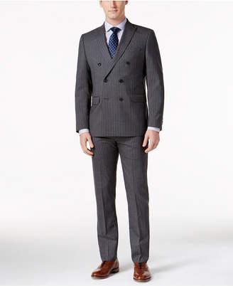 MICHAEL Michael Kors Men's Classic-Fit Double-Breasted Gray/Blue Pinstripe Suit $650 thestylecure.com