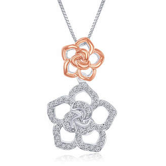 ENCHANTED FINE JEWELRY BY DISNEY Enchanted Disney Fine Jewelry 1/5 C.T. T.W. Diamond Sterling Silver With 14K Rose Gold Accent Belle Pendant Necklace