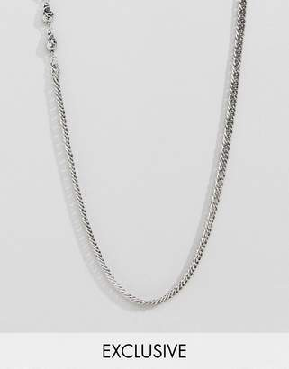 Reclaimed Vintage inspired lariat necklace with skull in silver exclusive at ASOS