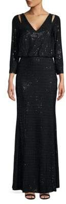 Calvin Klein Sequined Cutout Blouson Gown