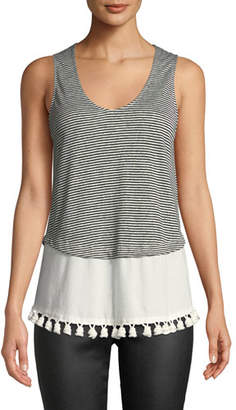 Derek Lam 10 Crosby Tiered Scoop-Neck Tank w/ Pompoms