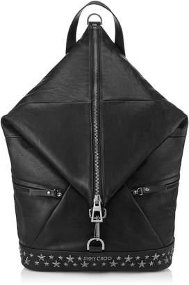 Jimmy Choo FITZROY Black Leather Backpack with Gunmetal Stars