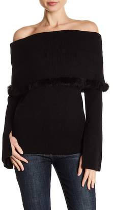 Love Token Off-the-Shoulder Genuine Dyed Rabbit Fur Trim Knit Top